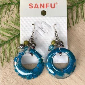 🍭 Nwt! Sanfu blue dangle earrings